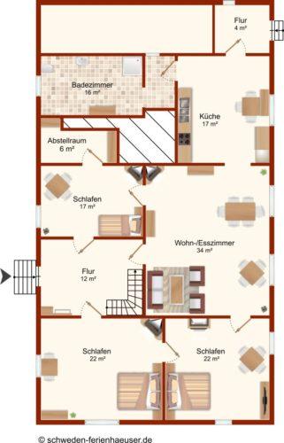Grundriss Erdgeschoss – Ferienhaus Viken