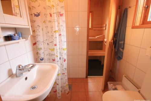 Badezimmer mit Sauna - Ferienhaus Felixbo