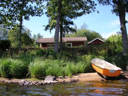 Blick vom See auf der Ferienhaus - Ferienhaus Felixbo