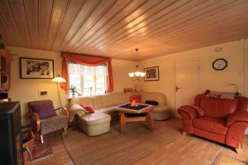 Wohnzimmer mit Kamin – Ferienhaus Tostaboda