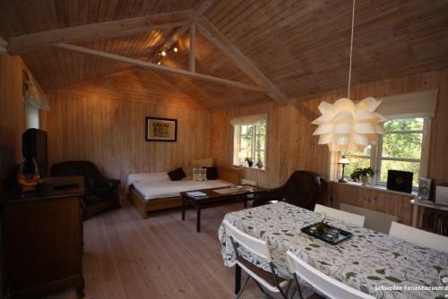 Wohnbereich mit Doppelbett - Ferienhaus Mette