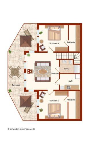 Grundriss 2. Ebene- Ferienhaus Hurven 2
